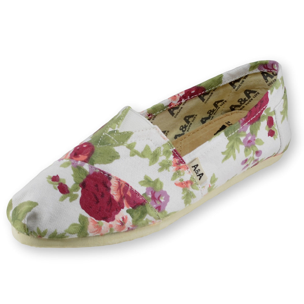 Floral White Canvas Slip On Shoes for
