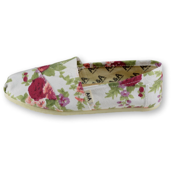 4be2e29805 Floral White Canvas Slip On Shoes for Women A A