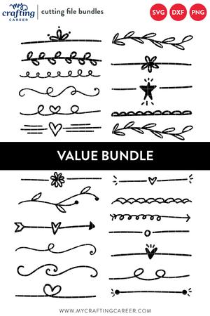 Hand Drawn Text Dividers Cutting File Bundle