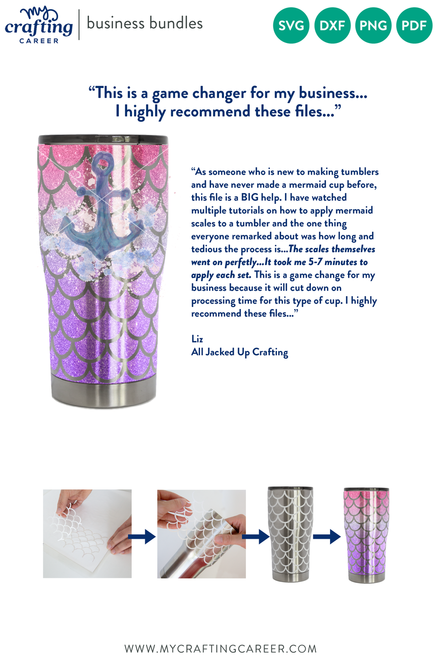 Hogg 20 oz Modern Curve Tumbler Mermaid Scales Business Bundle