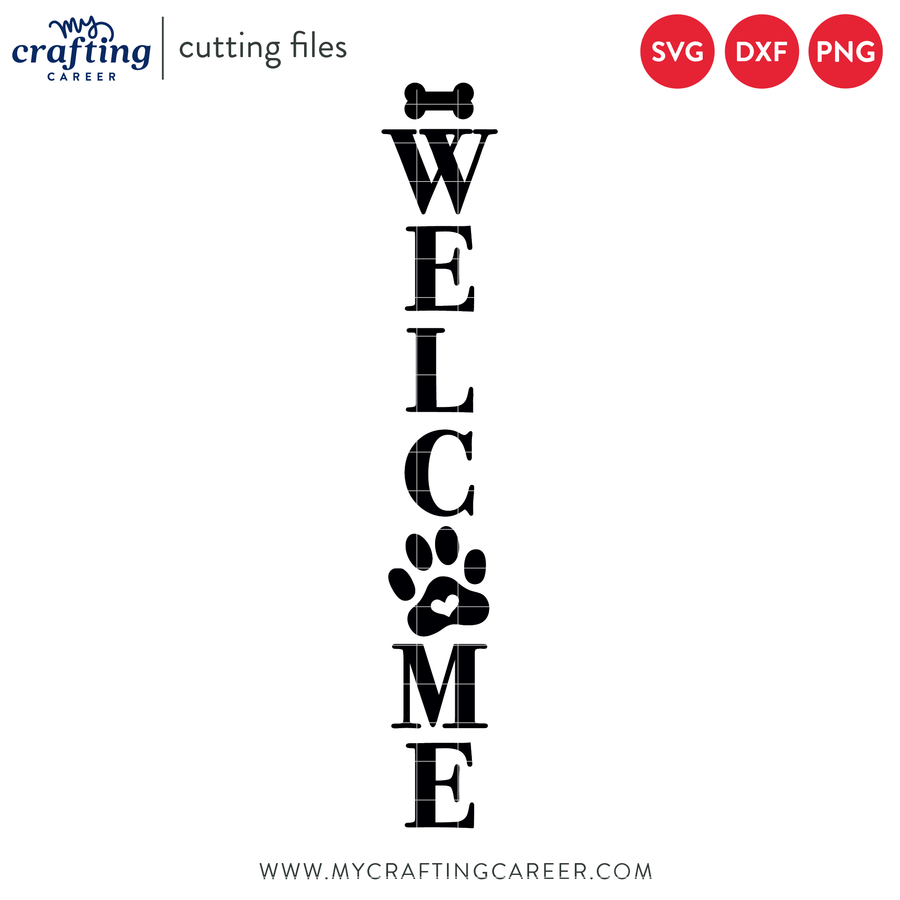 Welcome Paw Print Porch Sign Cutting File