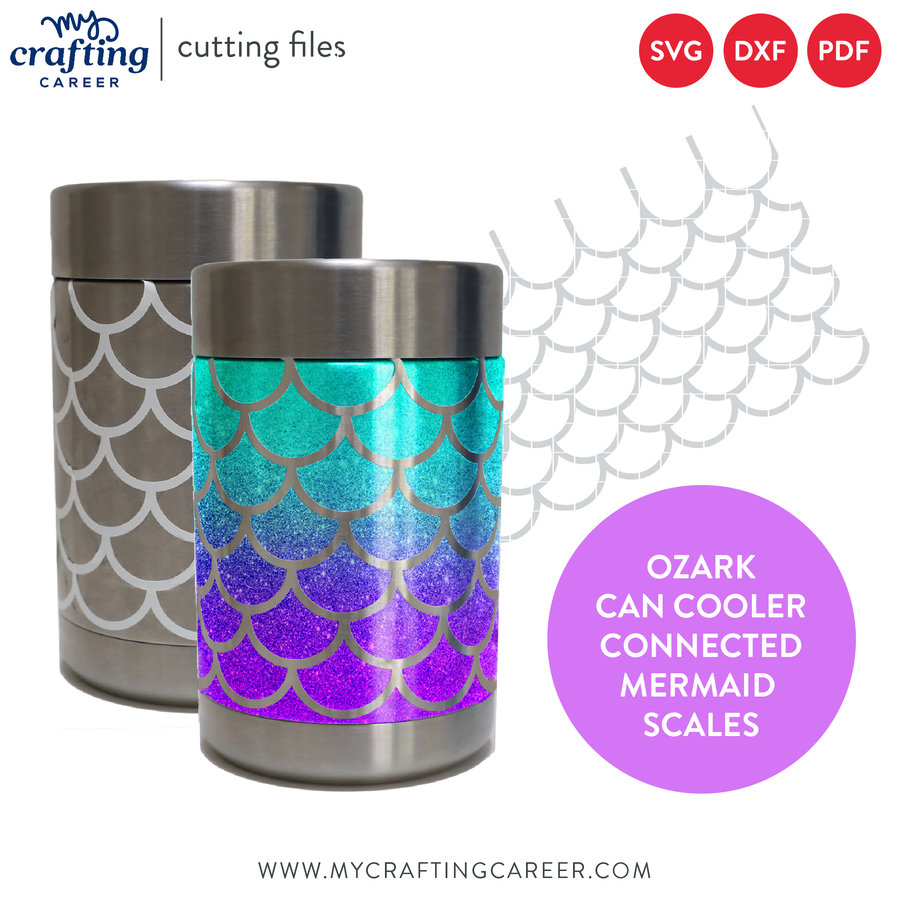 Ozark Can Cooler Tumbler Mermaid Scales SVG Cutting File