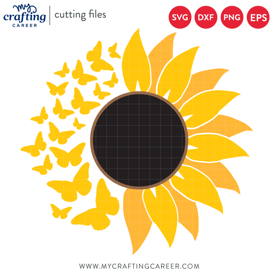 Butterfly Sunflower SVG Cutting File
