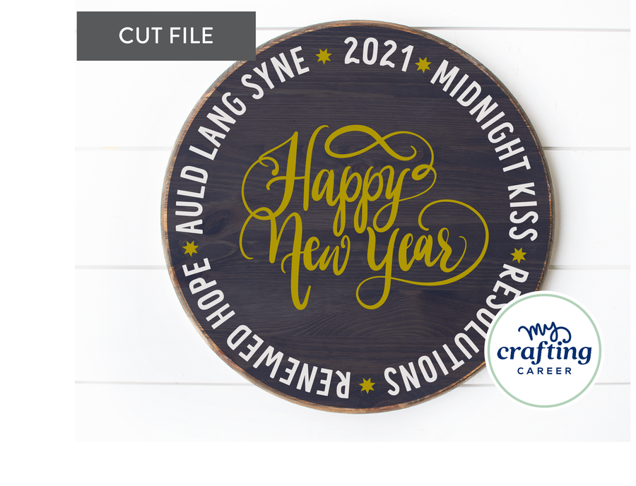 Happy New Year Word Circle Door Hanger SVG