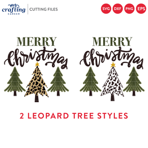 Merry Christmas Leopard Print Christmas Tree SVG