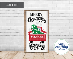 Christmas Truck Family Sign Cutting File