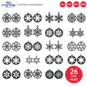 Snowflake Earrings SVG Bundle