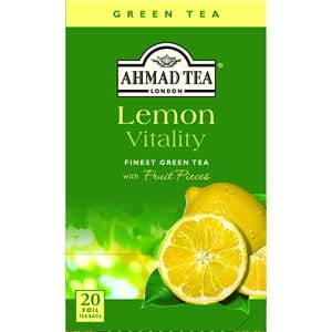 Ahmad Lemon Vitality Flavored Green Tea with Fruit Pieces 20 Foil