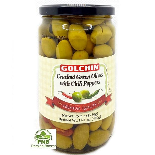Golchin Cracked Green Olives with Chili Peppers