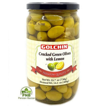 Golchin Cracked Green Olives with Lemon