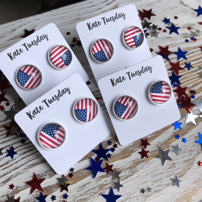 All American Flag Earrings 4th of July - Tactical Tricks