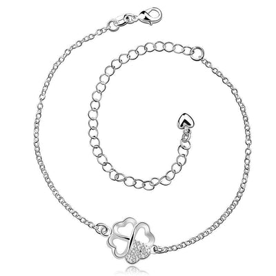Clover Anklet in 18K White Gold Plated - Tactical Tricks