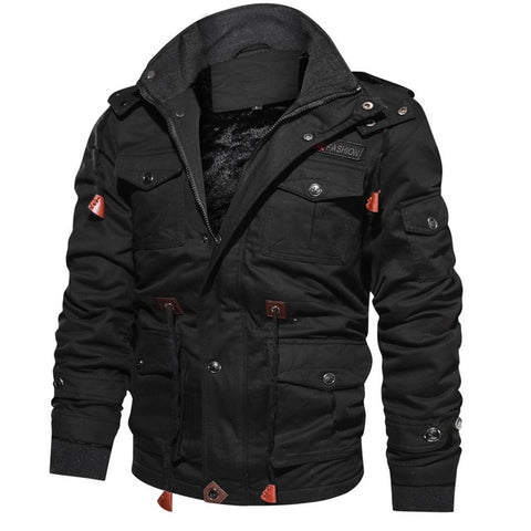 Thick Warm Mens Parka Jacket Winter Fleece Multi-pocket Casual Tactical Army Jacket Men Plus Size 4XL Hooded jaquetas masculina