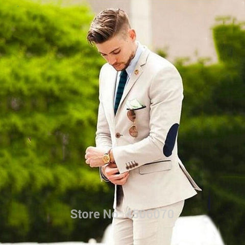 Beige Suit Men Wedding Suits For Men Elbow Patches Business Casual Groom Wear Tuxedo Slim Fit Male Blazers 2Pieces Jacket Pants