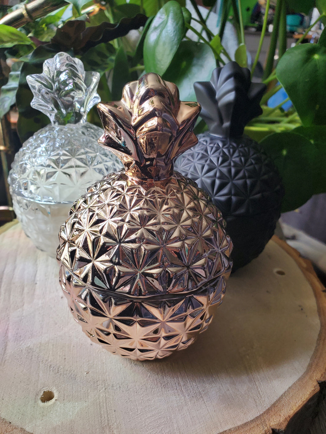 Rose gold pineapple container candle - pineapple cilantro scent