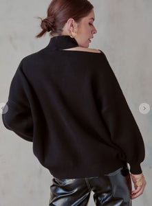 Mock Neck Cutout Shoulder Sweater