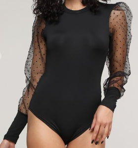 Dotted Organza Sleeve Bodysuit