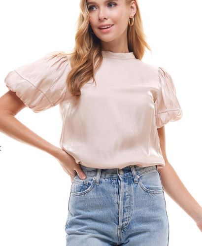 Champange Puff Sleeve Top