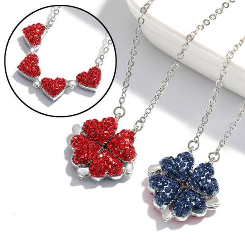 Four-Leaf Clover Red & Blue Necklace