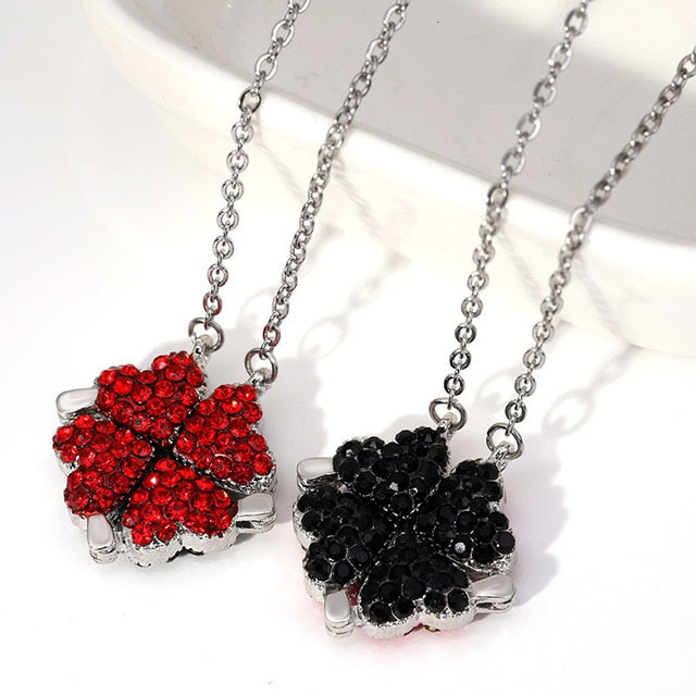 Four-Leaf Clover Black & Red Necklace
