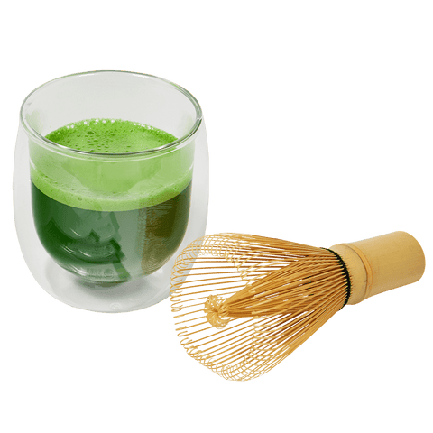 Matcha Tea Whisk and glass