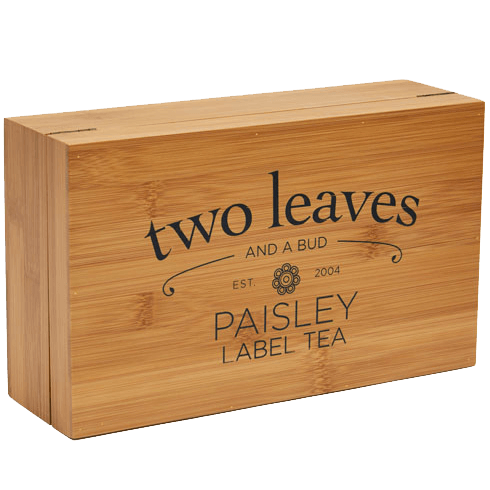 Paisley Label Bamboo Tea Chest Closed
