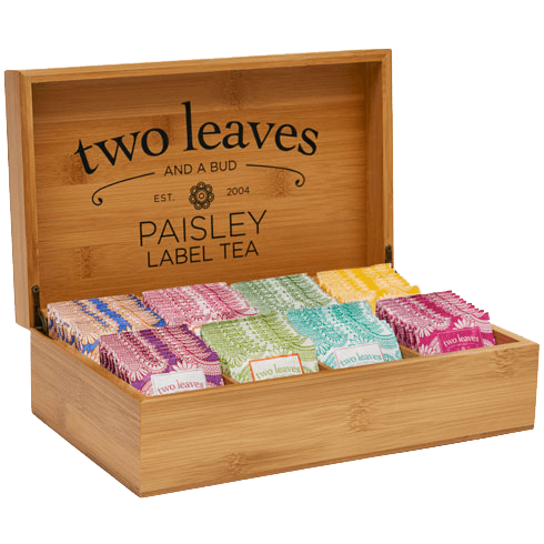 Paisley Label Bamboo Tea Chest Opened