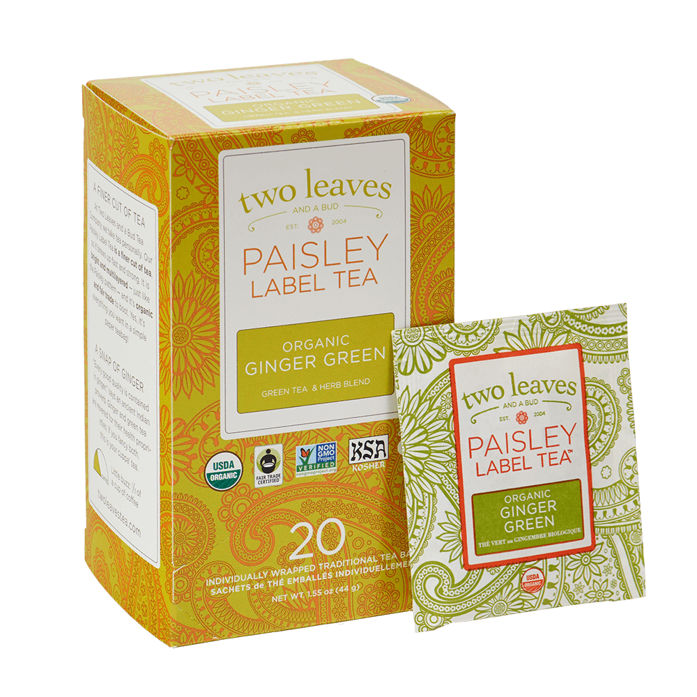 Paisley Organic Ginger Green Retail Box and Tea Bag