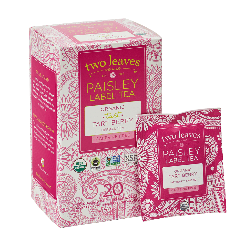 Paisley Organic Tart Berry Retail Box and Tea Bag