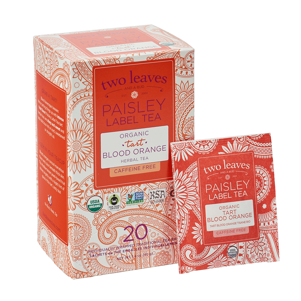 Paisley Organic Tart Blood Orange Retail Box and tea bag