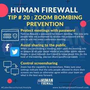 Human Firewall Tip # 20: Zoom bombing Prevention