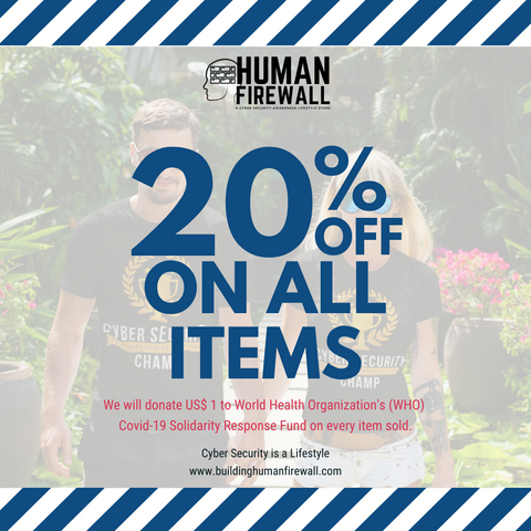 Human Firewall 20% off on all items discount www.buildinghumanfirewall.com covid_19 who