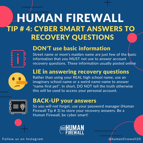 Human Firewall Tip number 4 Cyber Smart answers to recovery questions www.buildinghumanfirewall.com