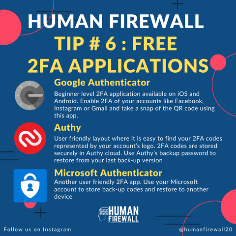 Human Firewall Tip # 6 Free 2FA Applications www.buildinghumanfirewall.com