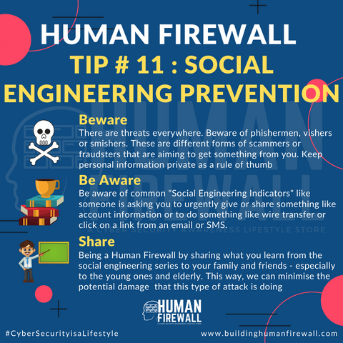 Human Firewall Tip # 11 Social Engineering Prevention www.buildinghumanfirewall.com