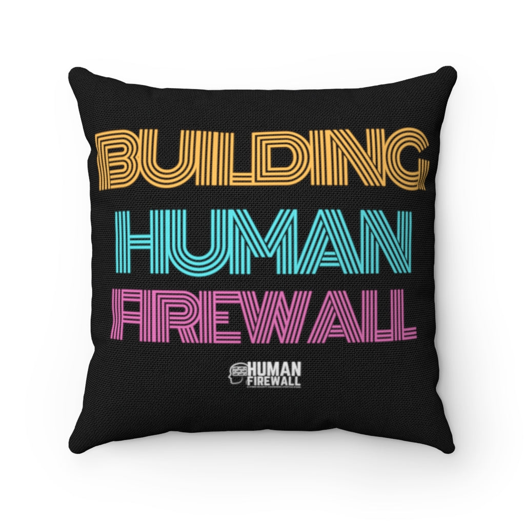 """Building Human Firewall"" Vintage Cyber Security Custom Spun Polyester Square Pillow www.buildinghumanfirewall.com"