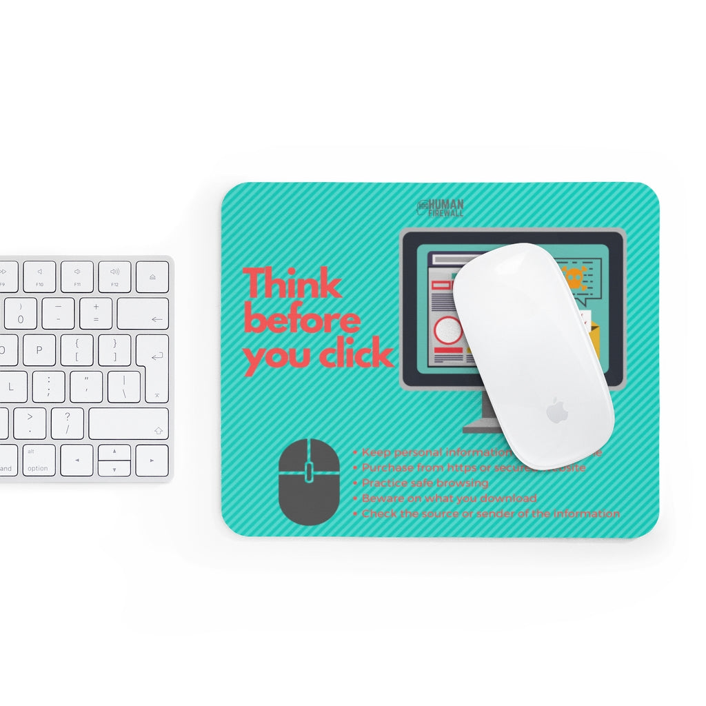 """Think Before You Click"" Cyber Security Custom Mousepad"
