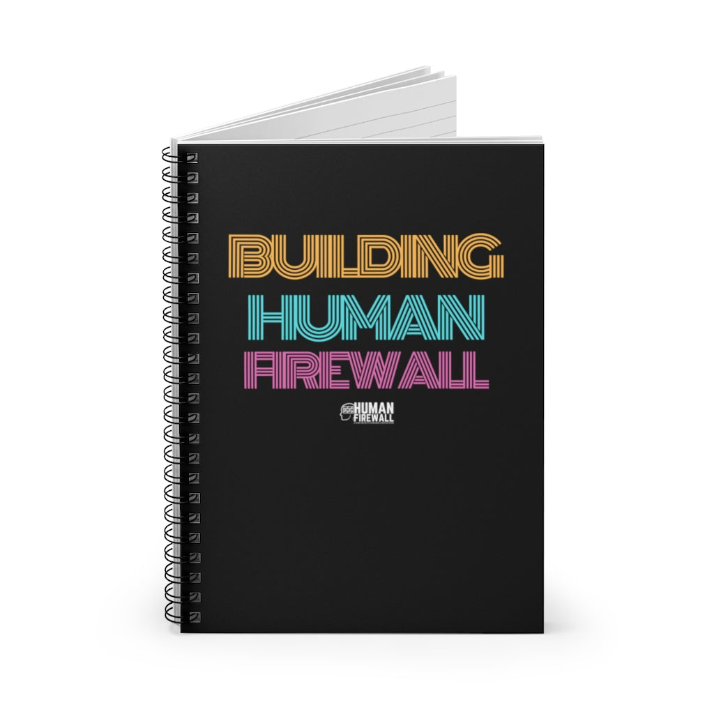"""Building Human Firewall"" Vintage Cyber Security Custom Spiral Notebook - Ruled Line www.buildinghumanfirewall.com"