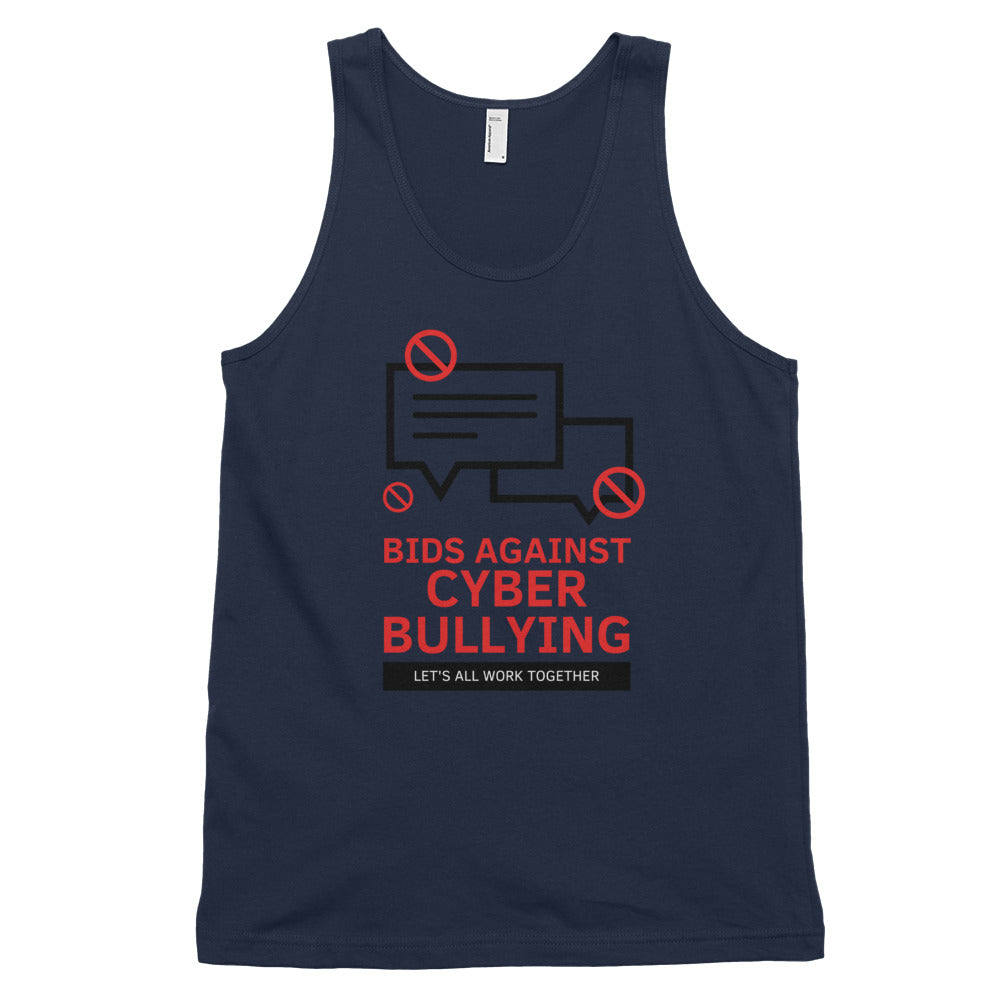 """Bid Against Cyber Bullying"" Cyber Security Unisex Tank Top www.buildinghumanfirewall.com"