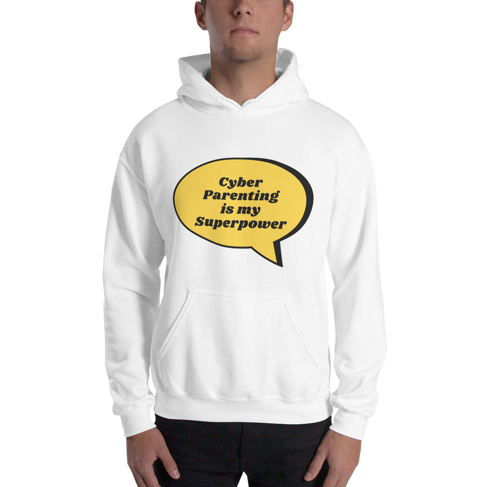 """Cyber Parenting is my Superpower"" Human Firewall Custom Men's Hoodie  www.buildinghumanfirewall.com"