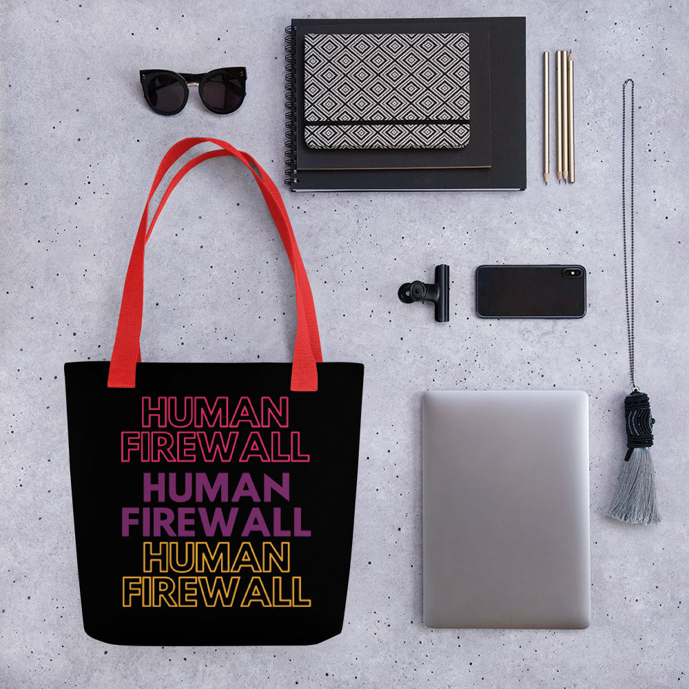 """Human Firewall"" 3 Colors Cyber Security Custom Tote Bag"