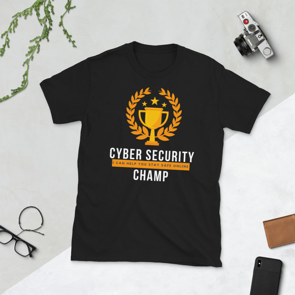 """Cyber Security Champ"" Custom Unisex T-Shirt humanfirewall.myshopify.com"