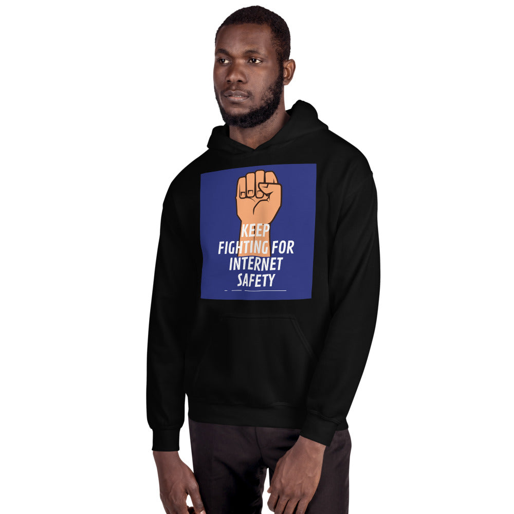 """Keep Fighting for Internet Safety"" Custom Unisex Hoodie humanfirewall.myshopify.com"