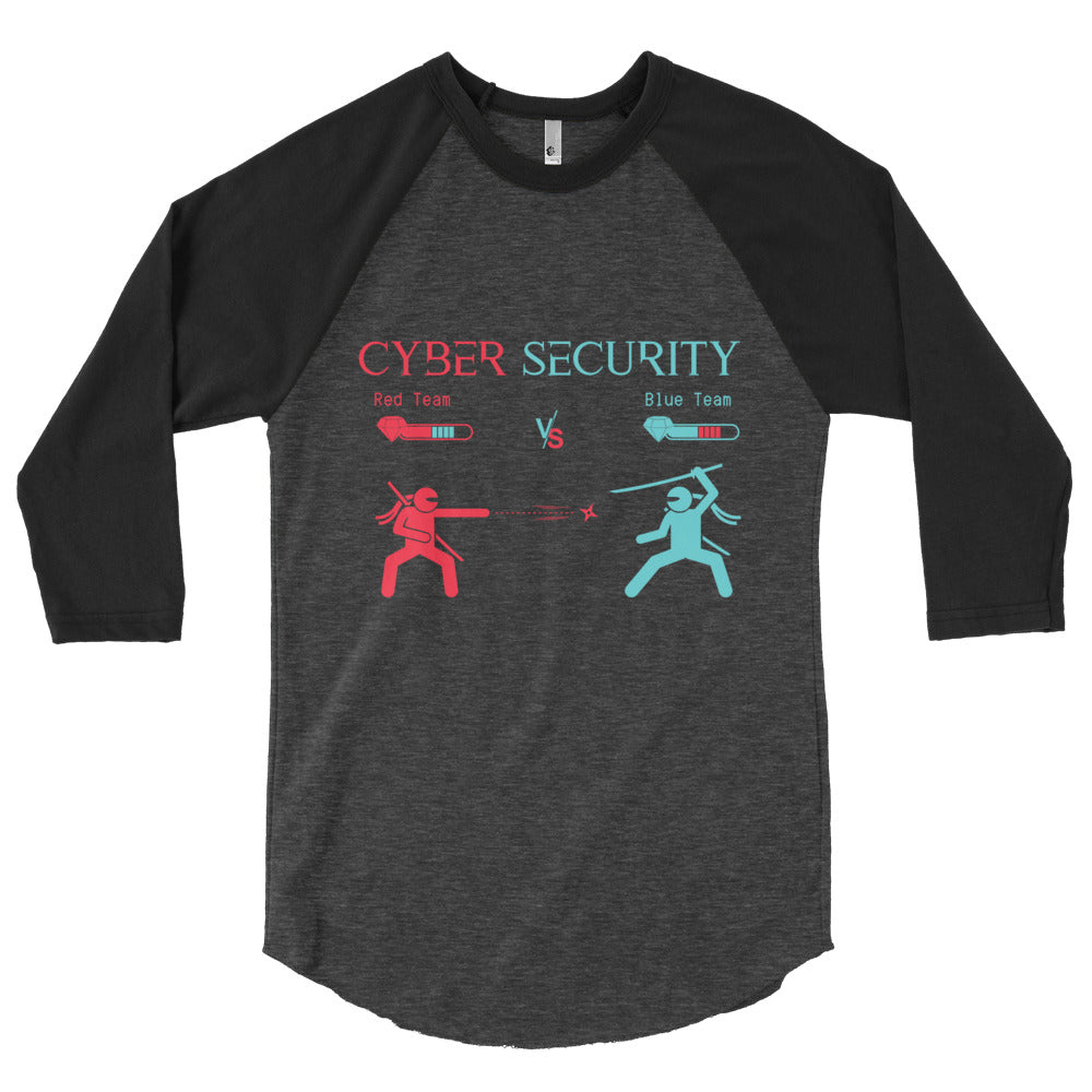 """Red Team vs Blue Team"" Cyber Security Custom 3/4 Sleeve Raglan Shirt"