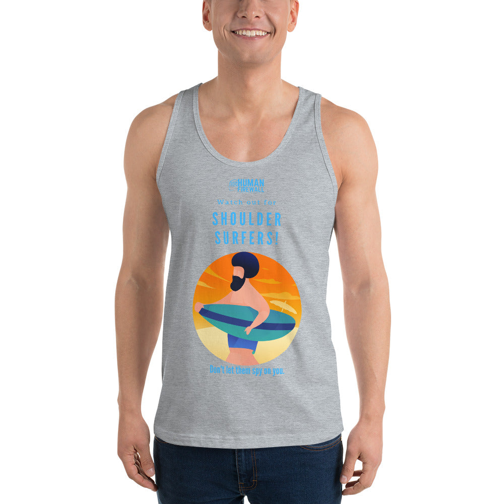 """Watch out for Shoulder Surfers"" Custom Unisex Tank Top humanfirewall.myshopify.com"