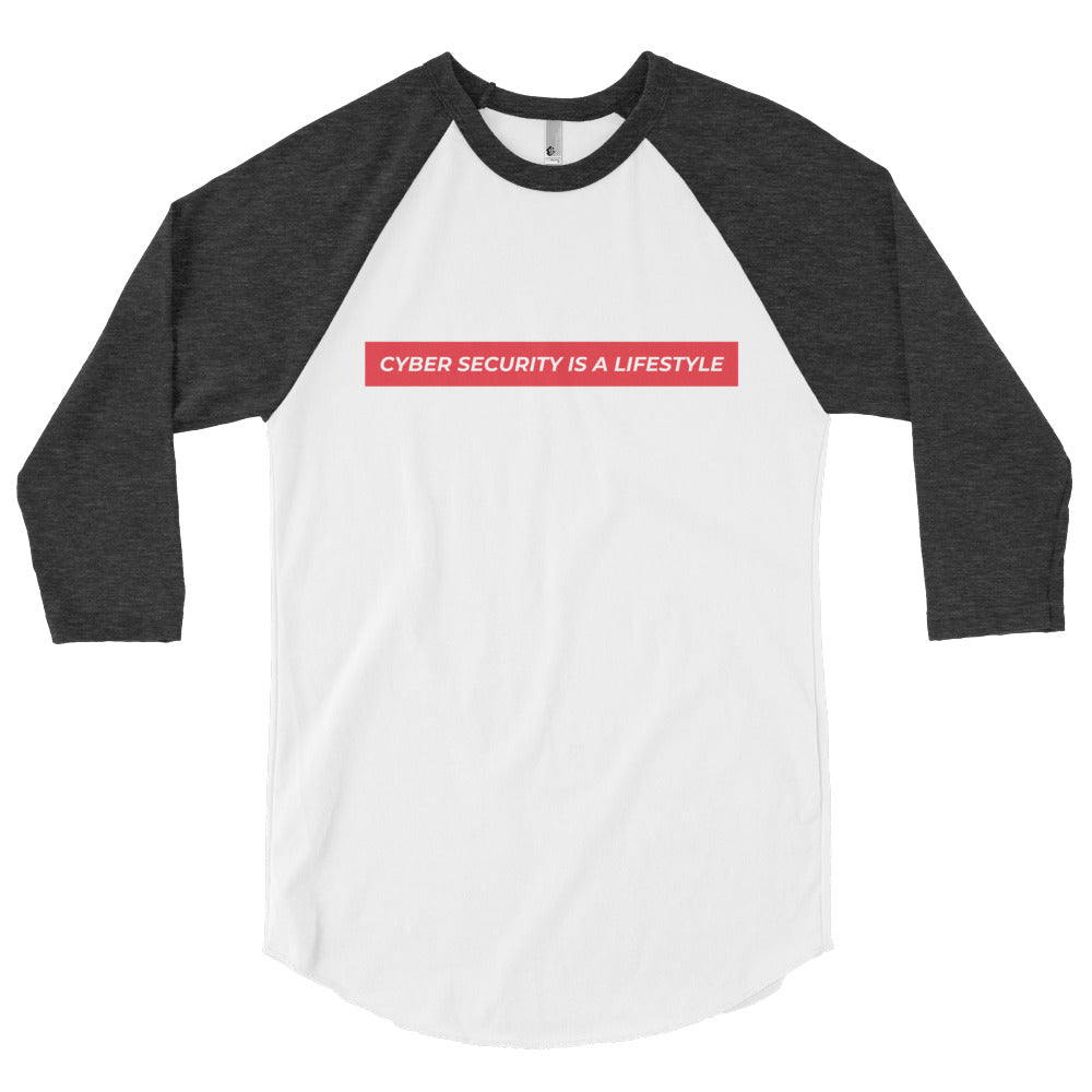 """Cyber Security is a Lifestyle"" Cyber Security 3/4 Sleeve Raglan Shirt"
