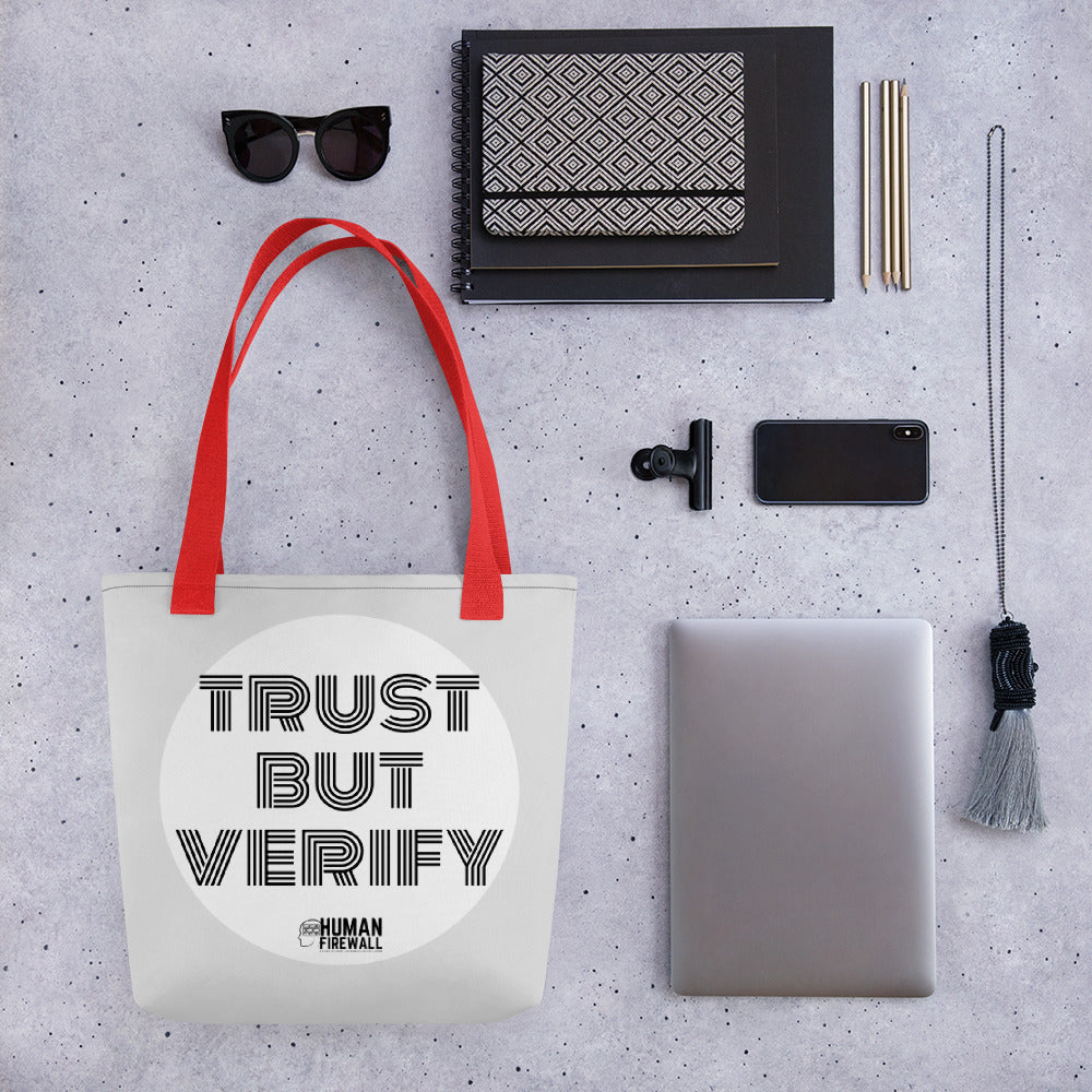 """Trust But Verify"" Cyber Security Custom Tote bag"