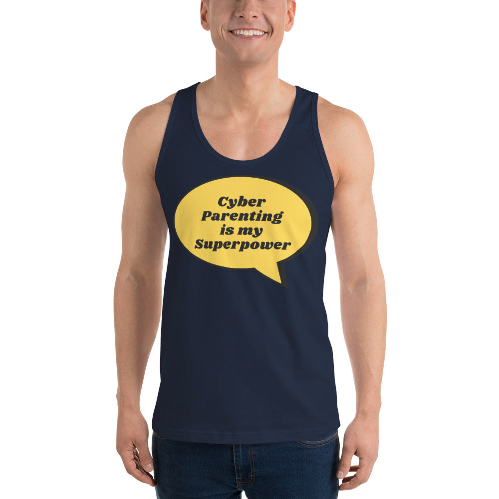"""Cyber Parenting is my Superpower"" Custom Unisex Tank Top humanfirewall.myshopify.com"