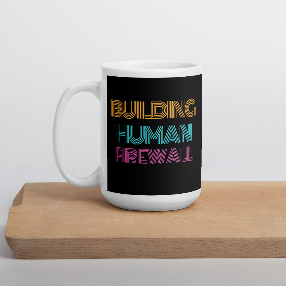 """Building Human Firewall"" Vintage Cyber Security Custom Mug www.buildinghumanfirewall.com"