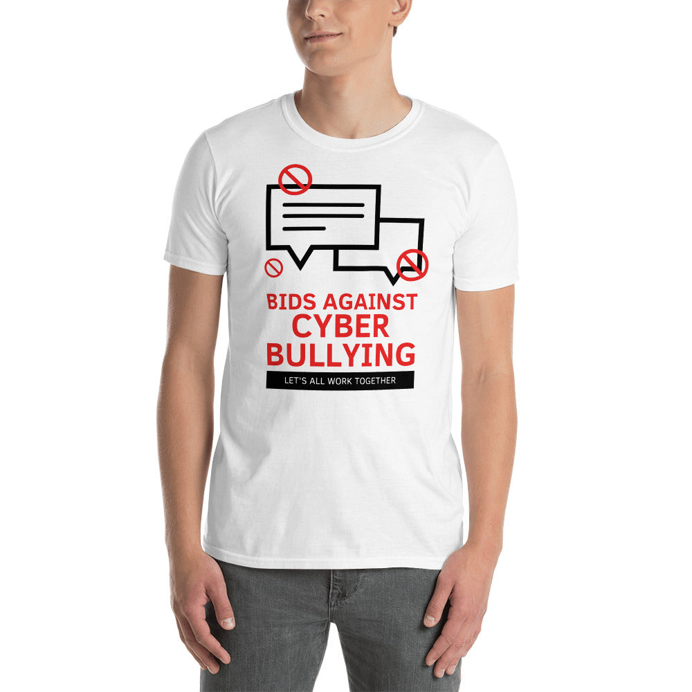 """Bid Against Cyber Bullying"" Cyber Security Custom Men T-Shirt www.buildinghumanfirewall.com"